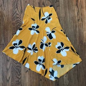 NEW Who What Wear Mustard Gold Floral Midi Skirt 4